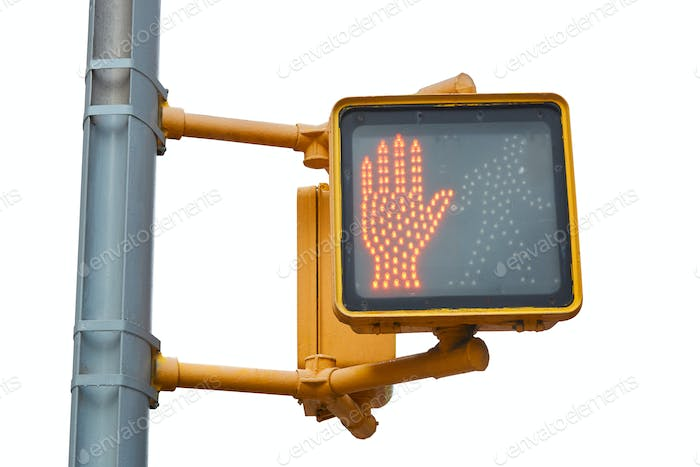New York pedestrian traffic light with red hand on white