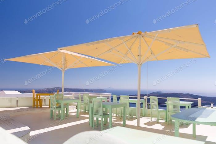 Empty restaurant, Santorini, Greece