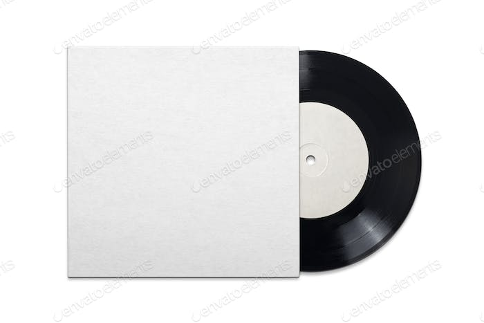 Vinyl record in cardboard cover on white background.