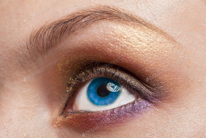 Macro image of blue woman eye