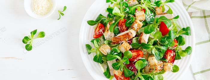 Caesar salad with grilled chicken meat.Top view. Banner
