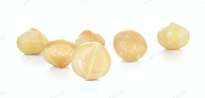 Macadamia placed on white background.