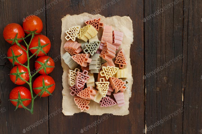 Tricolor fir tree shaped pasta and tomatoes