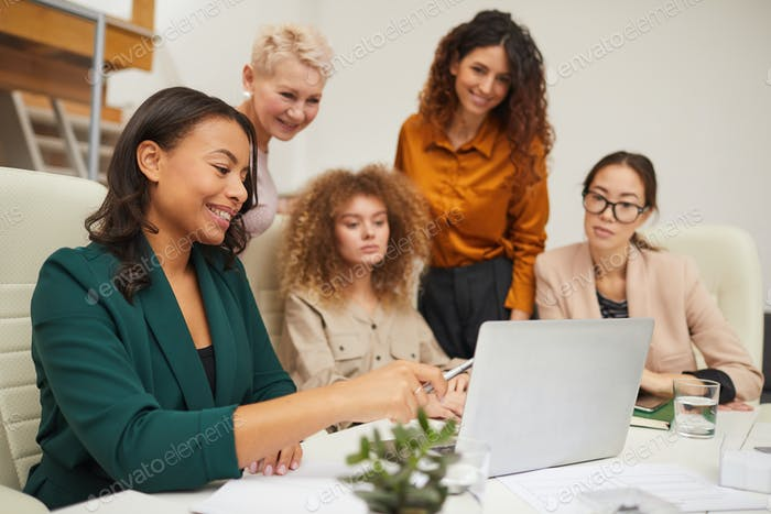 Group Of Successful Businesswomen Coworking