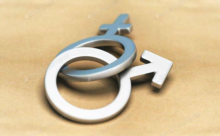 Gender Symbols, Male and Female Together.