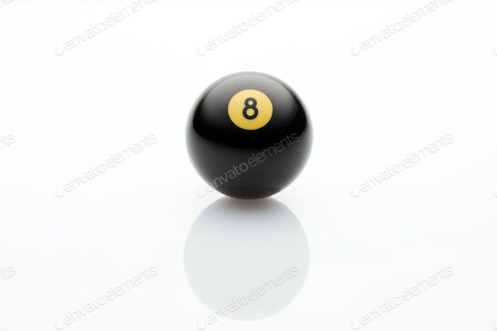 Product Shot Of Pool Black Ball On White Background