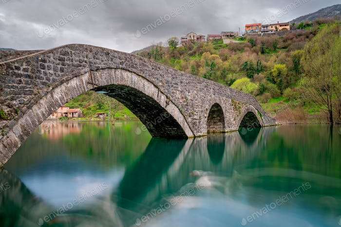 Ancient stone arch bridge  in Rijeka Crnojevica