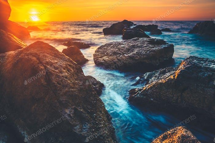 Sunset on the coast of the Sri Lanka