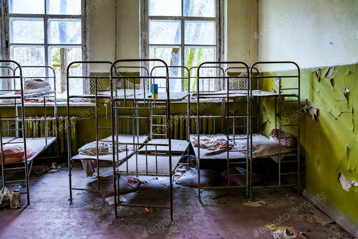 Pripyat, Chernobyl exclusion zone. The interior of a kindergarten in an abandoned city