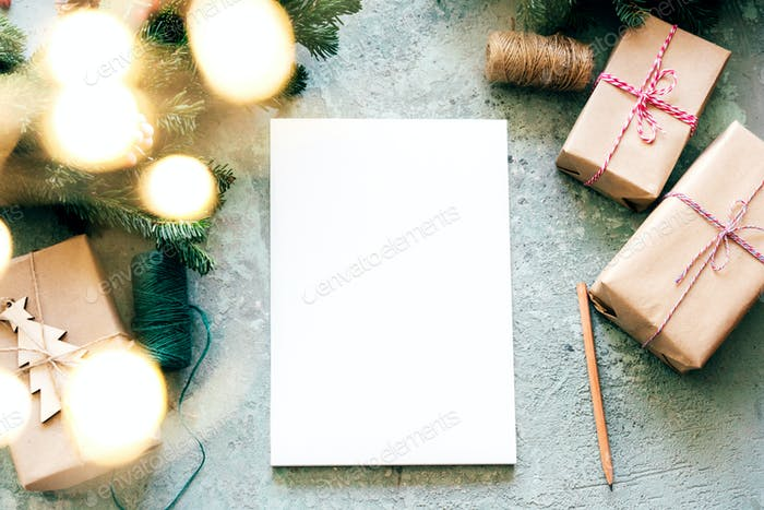 White blank for invitation text or Christmas wish list.