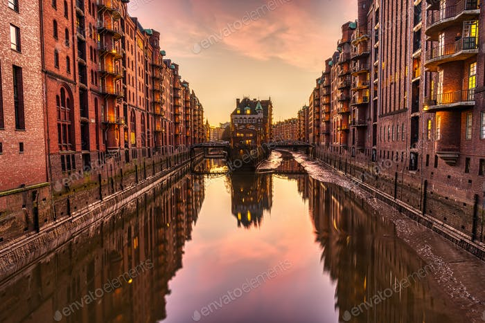 The red warehouses in the Speicherstadt in Hamburg