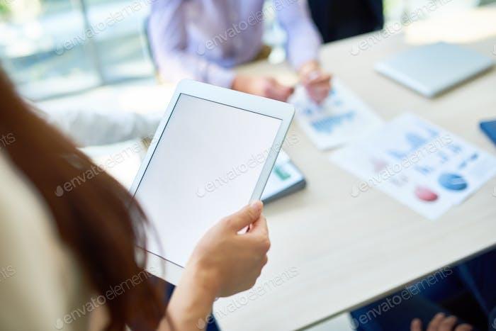 Unrecognizable Woman Holding Digital Tablet