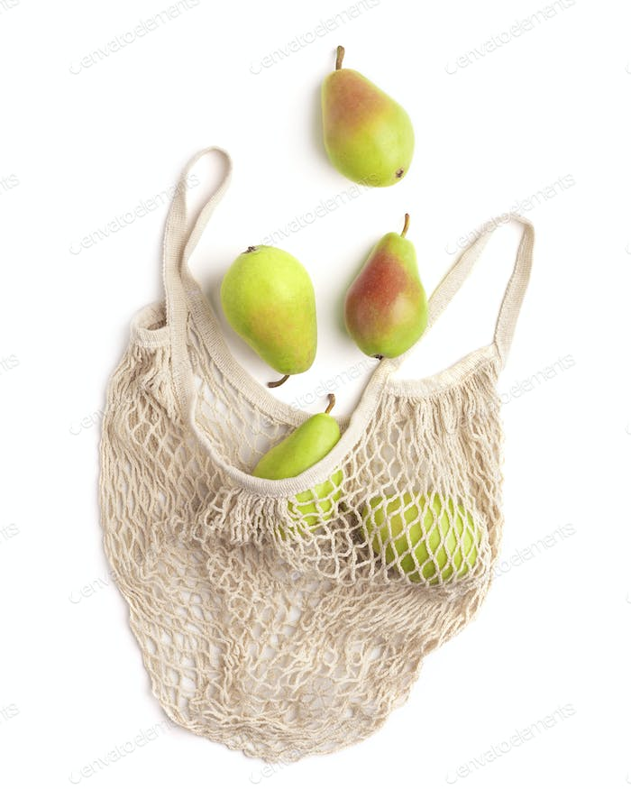 Ripe pears in reusable safety shopping net bag