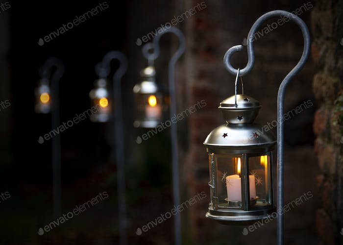 Christmas Candles Outdoors