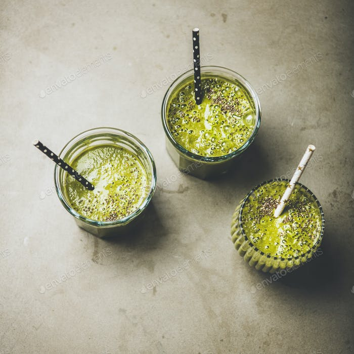 Vegan vegetable and fruit smoothies with chia seeds, square crop