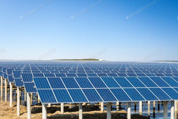 solar power plant under the blue sky