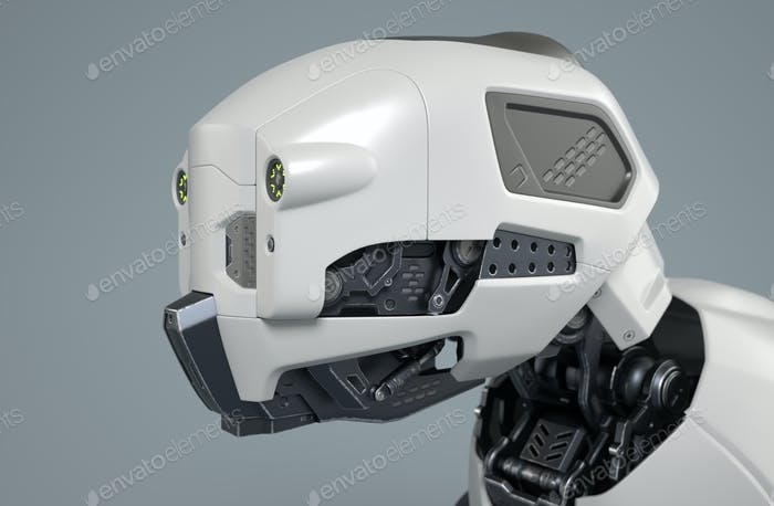 Robot dog's head on a gray background.