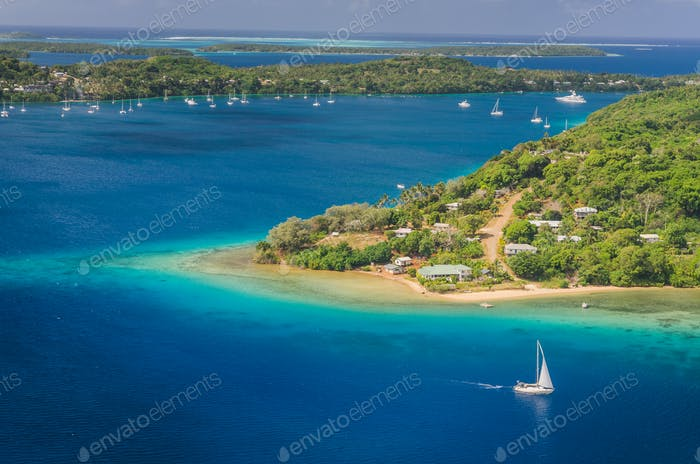 Yacht cruising Kingdom of Tonga,  from above