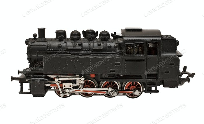 Locomotive Model Side View with Clipping Path Isolated on a White Background