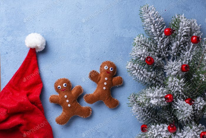 Christmas gingerbread men made of felt