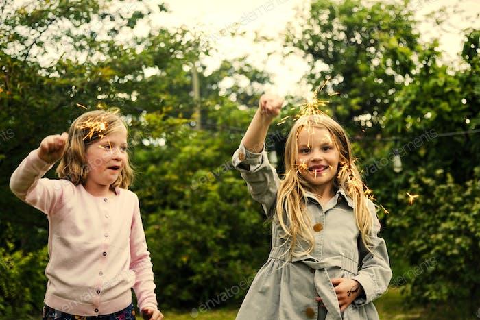 Playful little girls