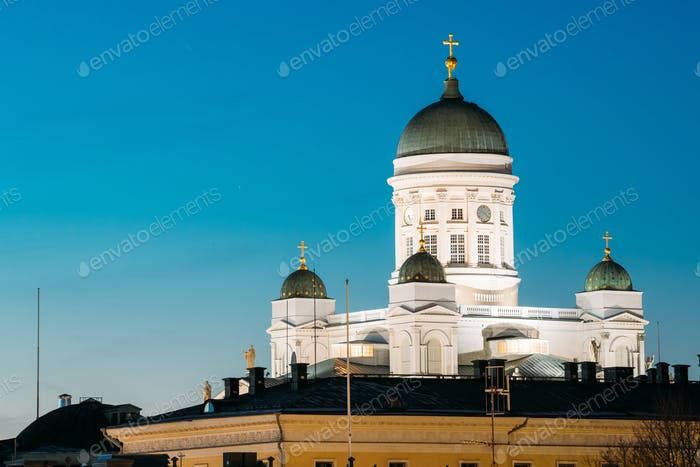 Helsinki, Finland. Senate Square With Lutheran Cathedral And Mon