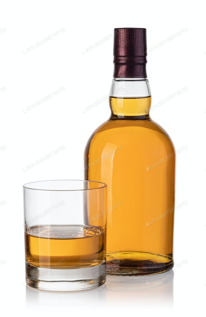 whiskey bottle and glass