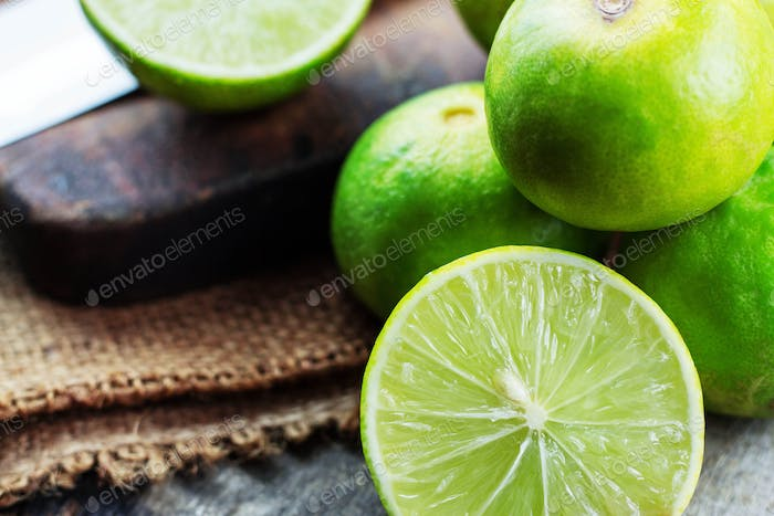Lime of half on wooden