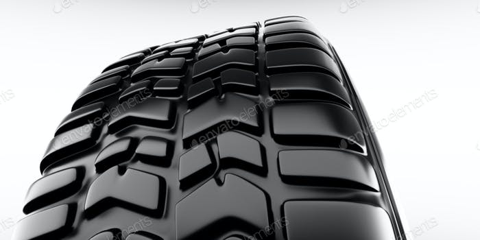 Wheel close-up on tire. White background