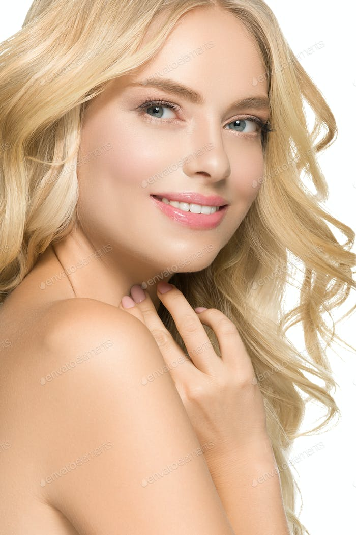 Blonde Hair Woman Beautiful Curly Hairstyle Wavy Long hair. Isolated on white. Studio shot.