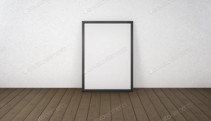 Poster with black frame mockup standing on the floor. 3d renderi