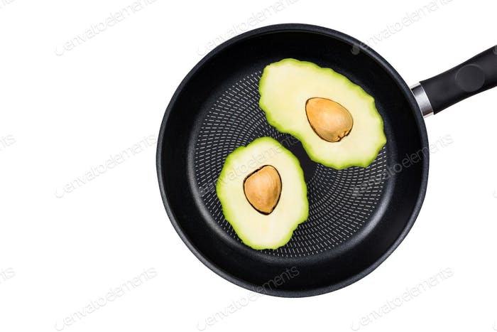 Fried avocado eggs, creative food ideas concept