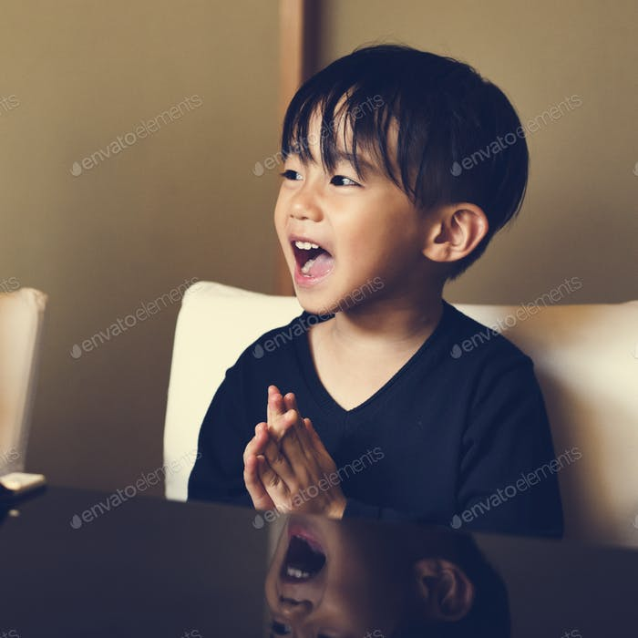 Young asian boy innocence adorable laughing