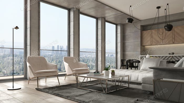 Interior of modern liviMinimalist Interior of modern living room