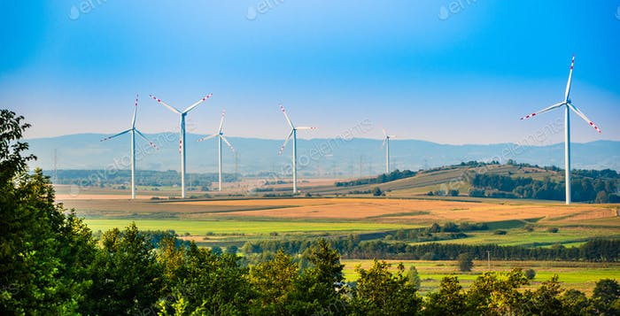 Wind turbines on the field in rural area