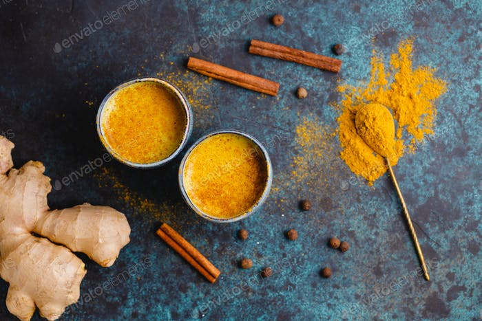 Turmeric latte which is made from curcuma, ginger, cinnamon and allspice