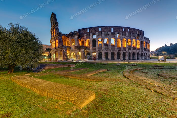 The illuminated Colosseum