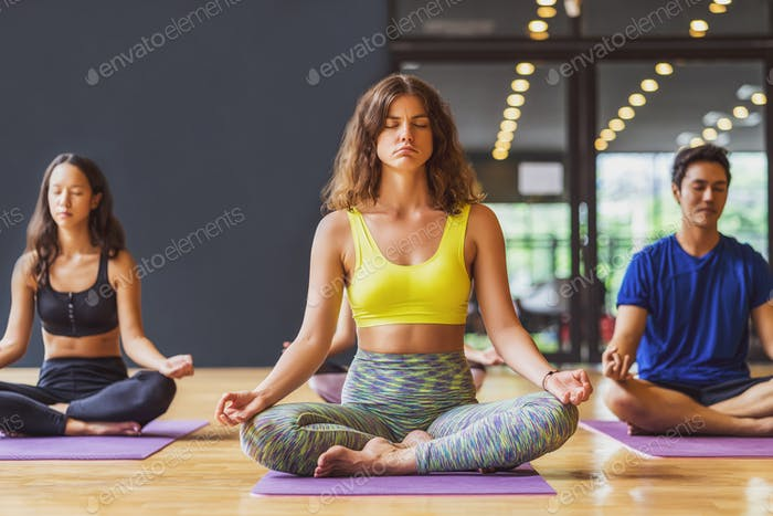 Group of diversity practicing yoga class, healthy or Meditation Exercise