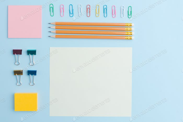 Top view image of office supplies