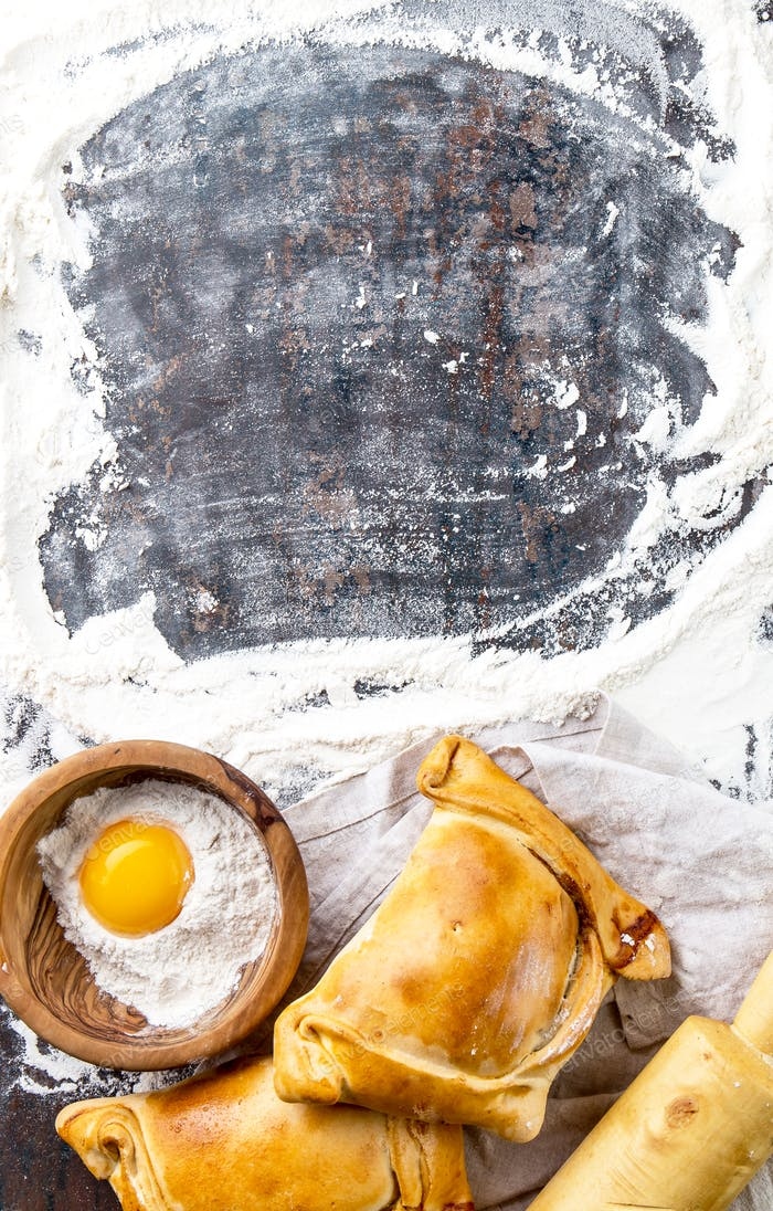 Chilean independence day baking concept, typical EMPANADAS DE PINO for independence day party
