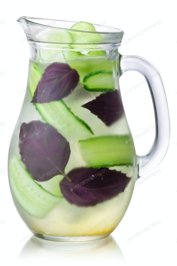 Iced cucumber purple basil drink jug, paths