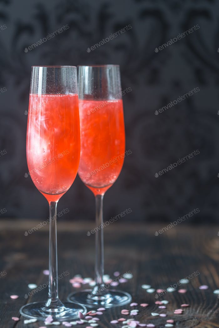 Glasses of champagne cocktail