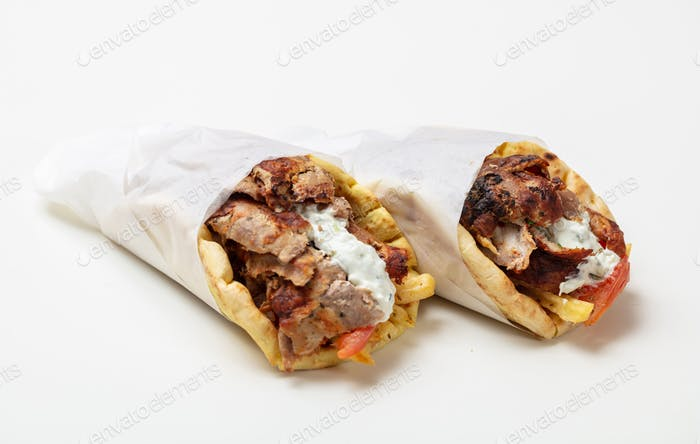 Gyro pita, shawarma, take away, street food. Traditional greek turkish, meat food isolated