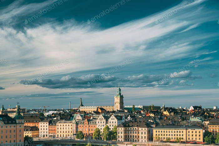 Stockholm, Sweden. Scenic Skyline View Of Old Town With Tower Of