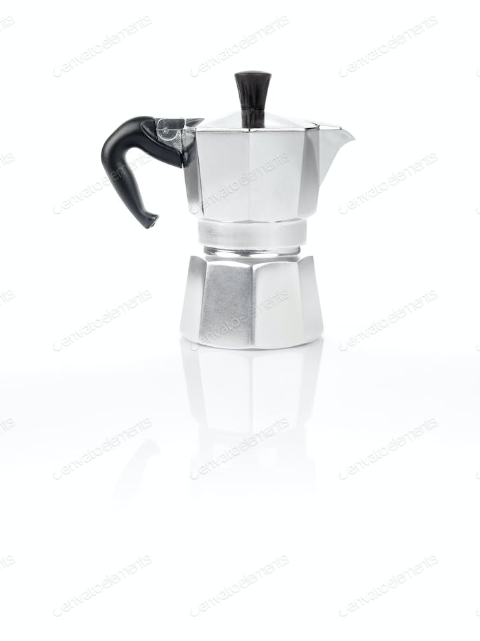 Moka Pot, italian espresso machine coffee maker and its reflection