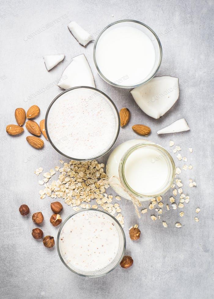 Vegane nicht-milchfreie Alternativmilch Top View