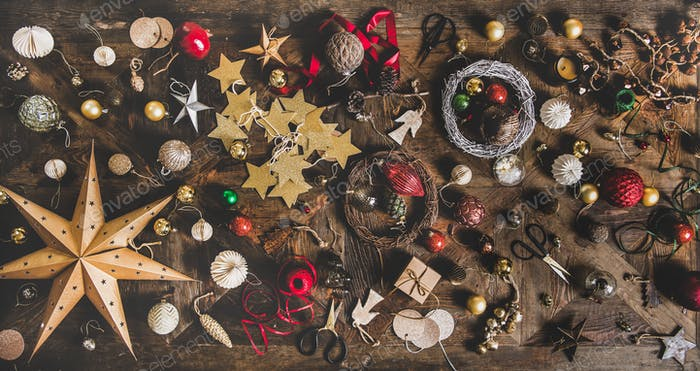 Christmas or New Year holiday decoration layout background, texture, wallpaper