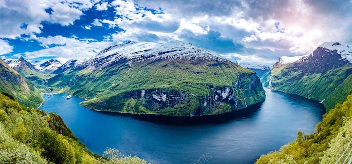 Panorama Geiranger fjord, Norway.