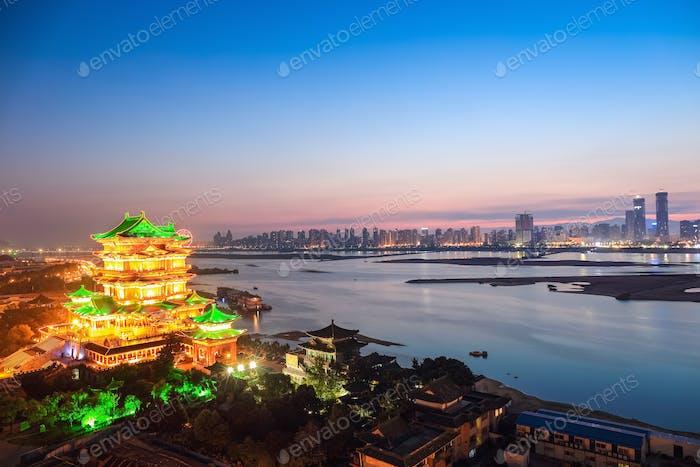 beautiful nanchang tengwang pavilion in nightfall