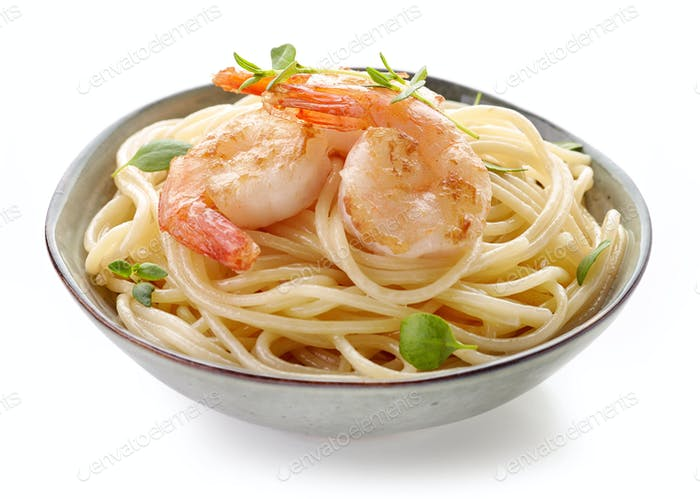 Bowl of spaghetti and fried prawns